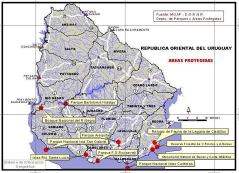 Mapa de Areas Protegidas en Uruguay